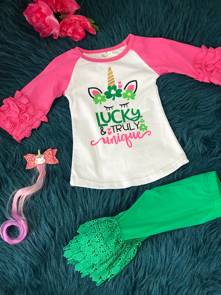 Saint Patricks Lucky & Truly Unique Unicorn Shirt P - JEN'S KIDS BOUTIQUE