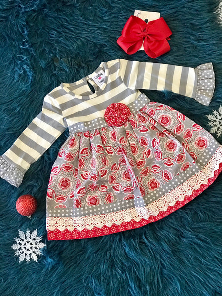 2018 Christmas Gray & Red Classic Christmas Dress - JEN'S KIDS BOUTIQUE