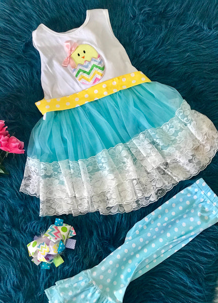 Beautiful Easter Tutu Dress Set Chick In Egg Dress - JEN'S KIDS BOUTIQUE