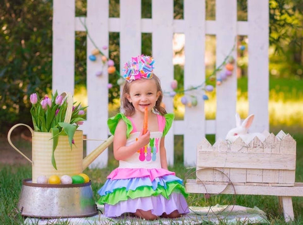 Easter Bunny Rainbow Layered Ruffle Dress - JEN'S KIDS BOUTIQUE