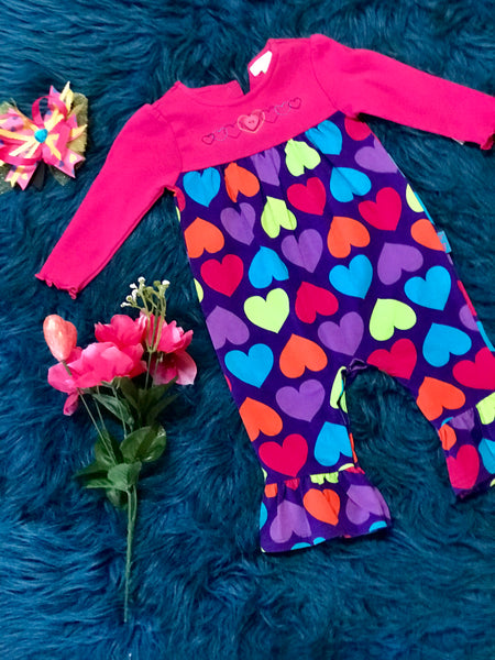 Colorful Heart Valentines Romper - JEN'S KIDS BOUTIQUE