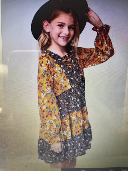 Hayden Fall Girls Brown & Mustard Printed Tiered Dress - JEN'S KIDS BOUTIQUE
