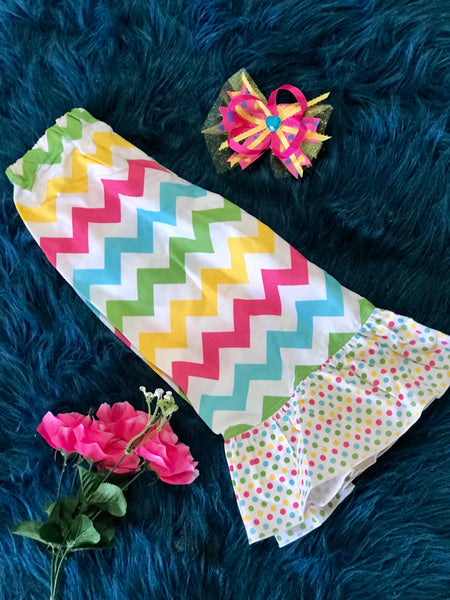 Spring Colorful Chevron Ruffle Pants - JEN'S KIDS BOUTIQUE