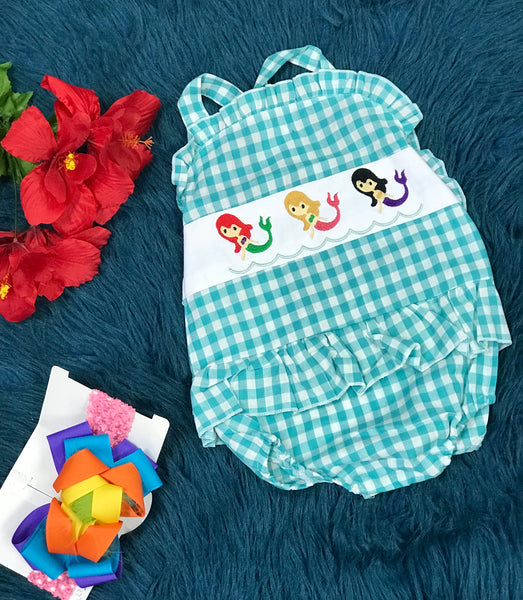 Summer Fun Embroidered Plaid Mermaid Bubble - JEN'S KIDS BOUTIQUE