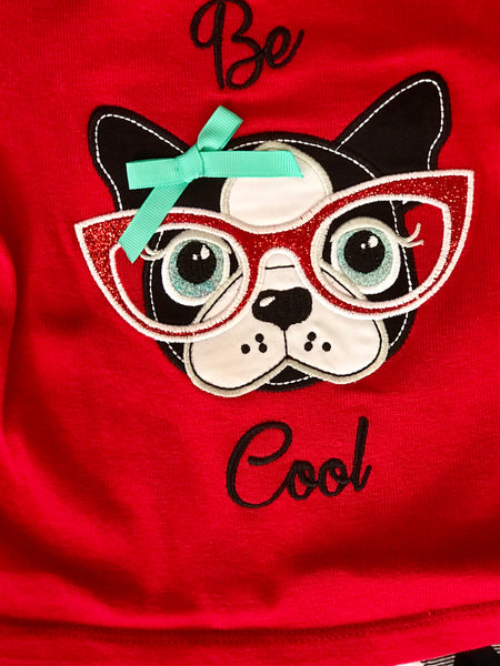 2018 Fall Be Cool Off The Shoulder Puppy Pant Set - JEN'S KIDS BOUTIQUE
