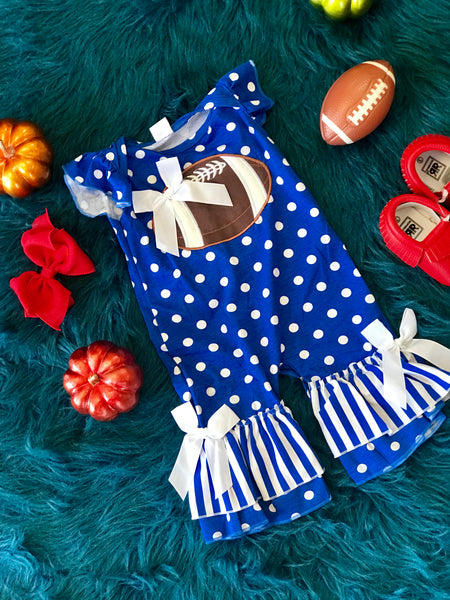 Fall Game Day Blue Polka Dot Football Infant Romper - JEN'S KIDS BOUTIQUE