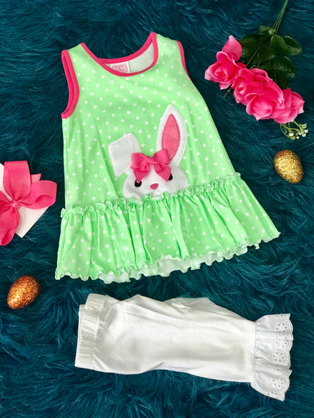 Molly & Millie By Peaches N Cream Easter  Lime Polkadot Bunny Capri Set CL - JEN'S KIDS BOUTIQUE