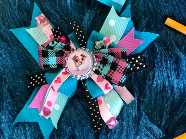 Cute As A Button Pink & Blue Puppy Button Hair Bow - JEN'S KIDS BOUTIQUE