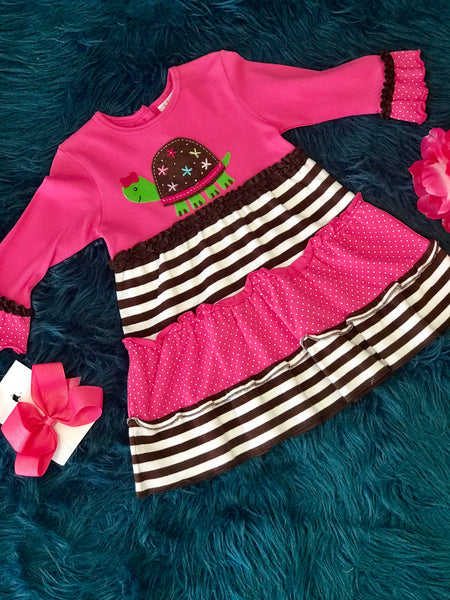 Luigi Sweet Pink Turtle Dress - JEN'S KIDS BOUTIQUE