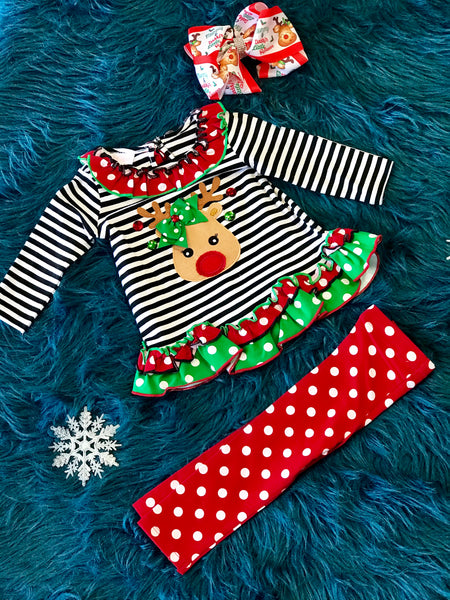 2018 Christmas Stripped Reindeer Head Pant Set - JEN'S KIDS BOUTIQUE