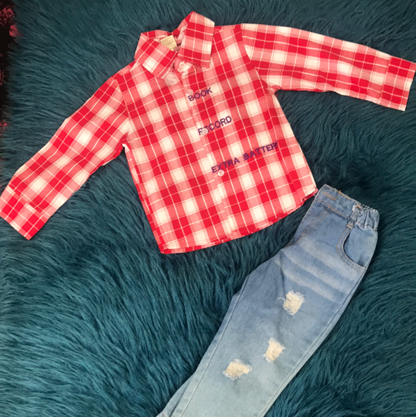 Kids Tales Red Button Up & Ripped Jeans Set F - JEN'S KIDS BOUTIQUE