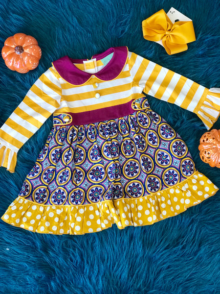Fall Sage & Lilly Mardi Gras Parade Tab Dress C - JEN'S KIDS BOUTIQUE