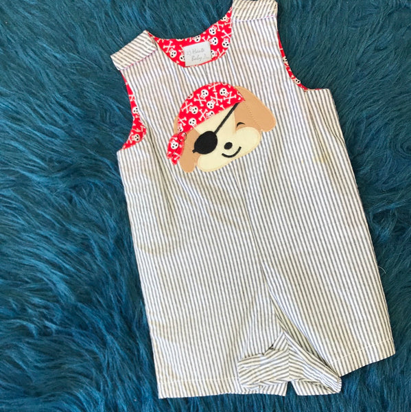 Haute Baby Grey Stripped Pirate Dog Romper