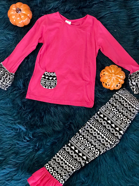 Fall Hot Pink & Paisley Pant Set - JEN'S KIDS BOUTIQUE
