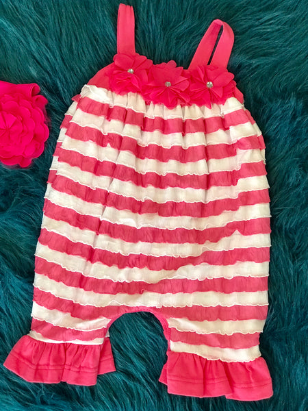 Peaches N Cream Hot Pink/White Ruffle Romper W/Flowers On Top - JEN'S KIDS BOUTIQUE