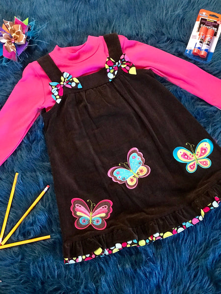 Fall Beautiful Brown & Hot Pink Butterfly Dress - JEN'S KIDS BOUTIQUE