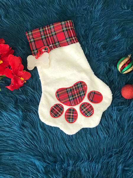 New Christmas Red Plaid Pet Paw Christmas Stocking - JEN'S KIDS BOUTIQUE