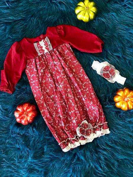2018 Fall Isobella & Chloe Adorable Georgina Burgundy Rose Infant Gown With Headband - JEN'S KIDS BOUTIQUE