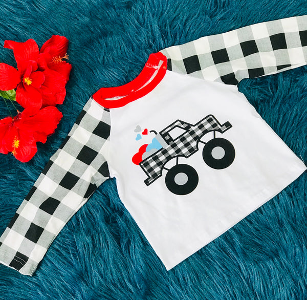 Fun Valentines Monster Truck White & Black Plaid Sleeve Shirt - JEN'S KIDS BOUTIQUE