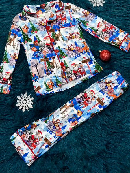 Christmas North Pole Santa & Friends Cotton Button Down Pajamas C - JEN'S KIDS BOUTIQUE