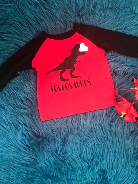 Valentines Boys Red & Black LoveoSaurus Shirt - JEN'S KIDS BOUTIQUE