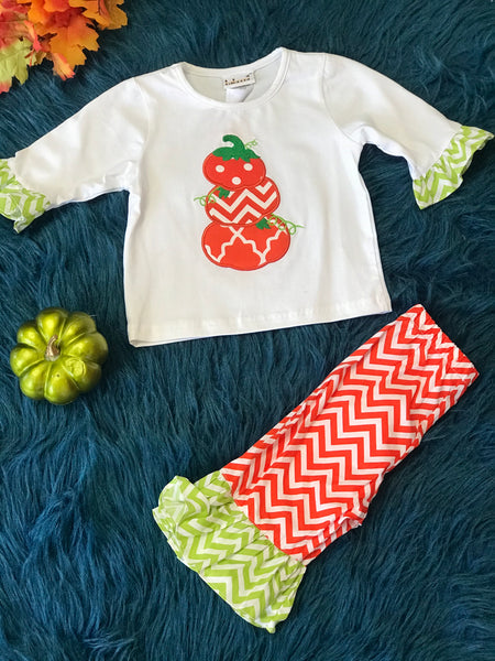 New Stacked Pumpkin Pant Set TH - JEN'S KIDS BOUTIQUE