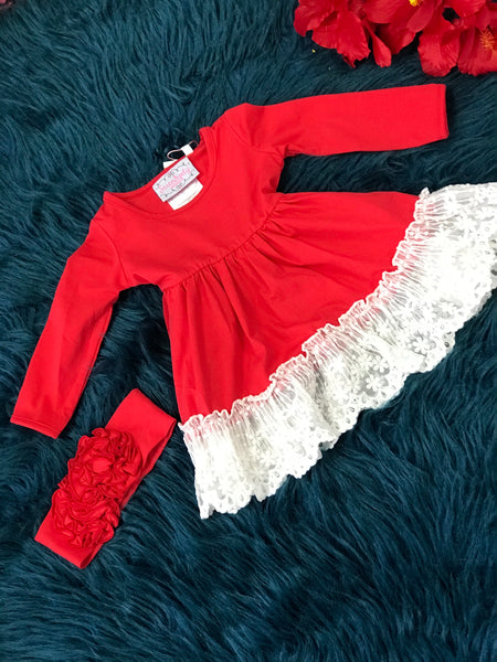 New Fall Serendipity Valentines Winter Berry Red Lace Swing Dress C - JEN'S KIDS BOUTIQUE