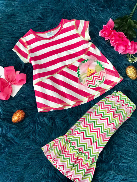 Peaches N Cream Easter Stripped & Chevron Chick Set - JEN'S KIDS BOUTIQUE
