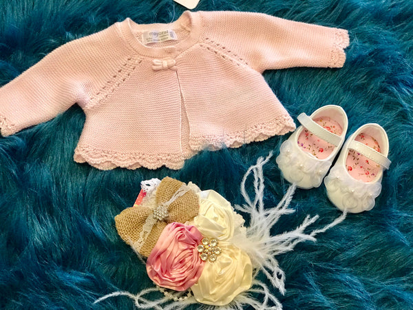Mayoral Baby Pink Crochet Sweater - JEN'S KIDS BOUTIQUE