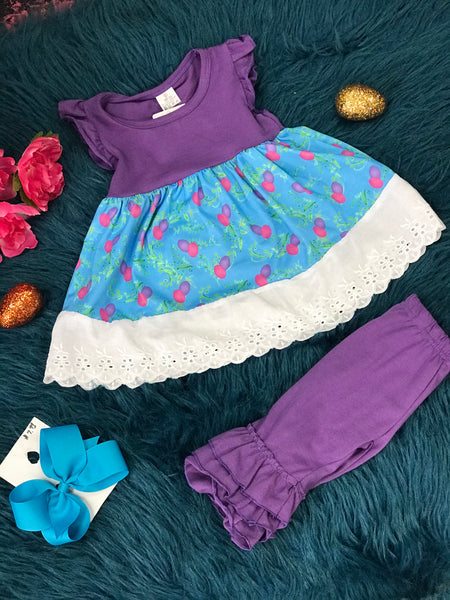 Easter Purple & Egg Lace Ruffle Pant Set - JEN'S KIDS BOUTIQUE
