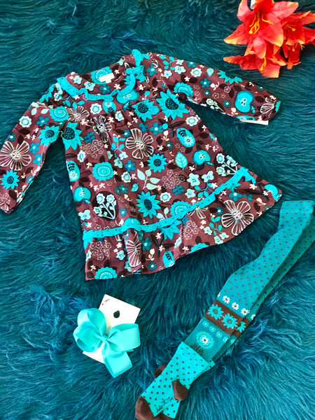 Fall La Top Brown & Aqua Floral Tights Set - JEN'S KIDS BOUTIQUE
