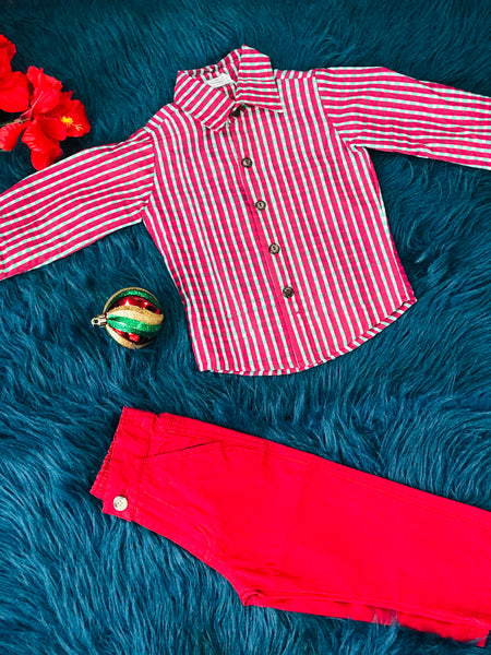 KoKo Nut Boys Christmas Stripped Red & Green Button Down Shirt C - JEN'S KIDS BOUTIQUE