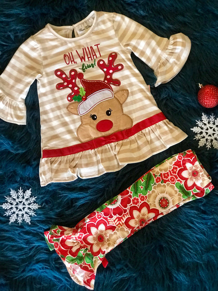 Christmas Oh What Fun Reindeer Pant Set - JEN'S KIDS BOUTIQUE