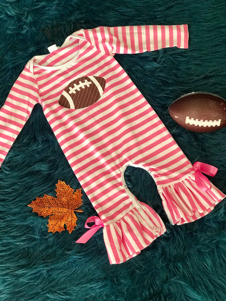 Adorable Game Day Football Infant Girls Romper - JEN'S KIDS BOUTIQUE