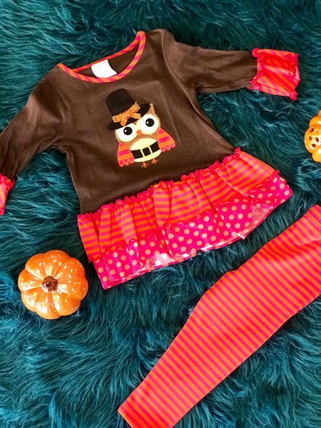 Peaches N Cream Colorful Thanksgiving Owl Pant Set TH - JEN'S KIDS BOUTIQUE