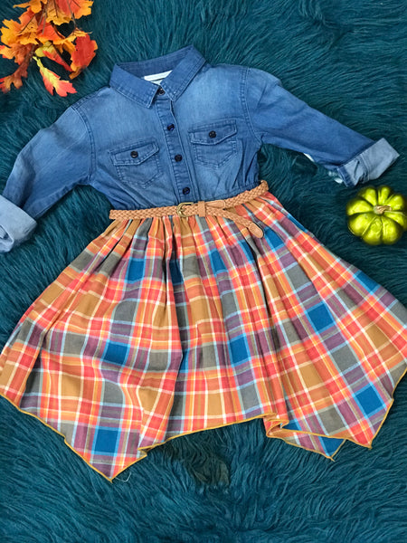 Bonnie Jean New Fall Denim & Flannel Dress - JEN'S KIDS BOUTIQUE