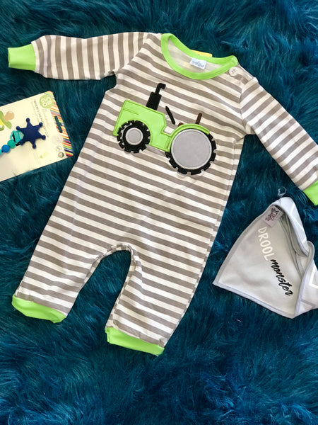 2018 Fall My Little Green Tractor Infant Boys Romper - JEN'S KIDS BOUTIQUE