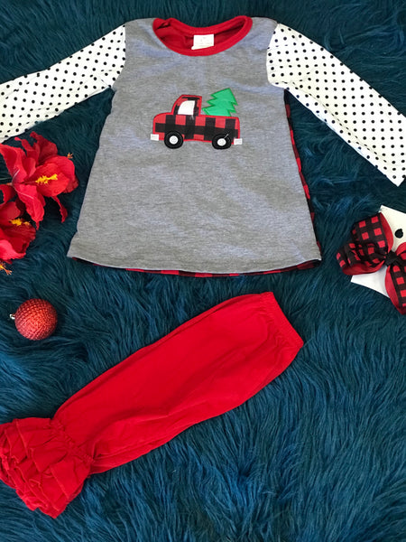 New Christmas Girls Vintage Plaid Truck Pant Set C - JEN'S KIDS BOUTIQUE