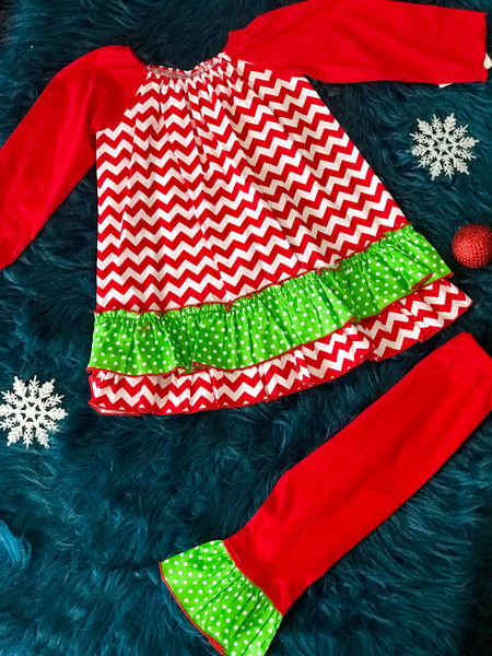 Three Sisters Christmas Chevron Red & Green Dress Set