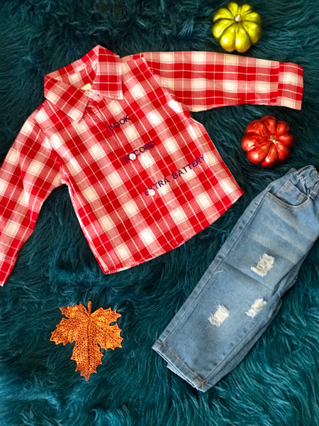 Fall Boys Plaid Shirt With Denim Jeans - JEN'S KIDS BOUTIQUE