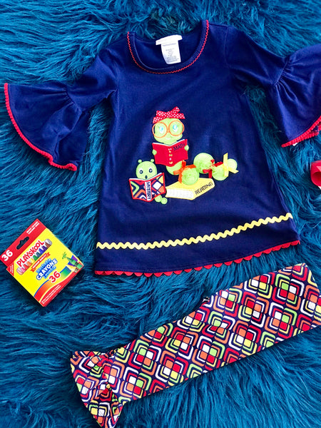 Back To School Colorful Navy Book Worm Pant Set - JEN'S KIDS BOUTIQUE