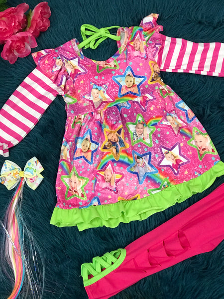 New JoJo Fun Pink Party Legging Set - JEN'S KIDS BOUTIQUE
