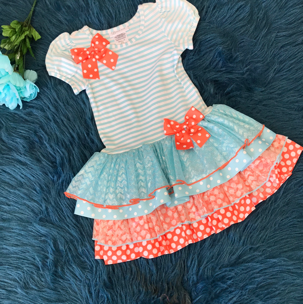 Bonnie Jean Aqua & White Stripped & Orange Dress ECL - JEN'S KIDS BOUTIQUE
