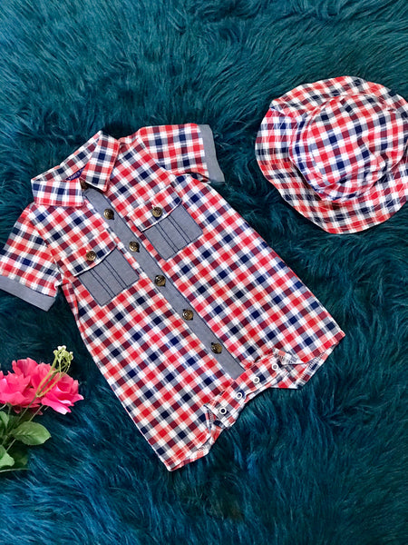 Bonnie Boys Red White Blue Romper W/Hat - JEN'S KIDS BOUTIQUE