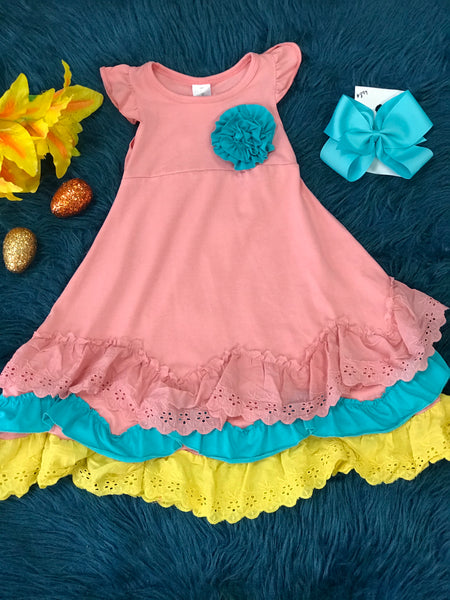 Easter & Spring Peach Multi Layered Ruffle Maxi Dress - JEN'S KIDS BOUTIQUE
