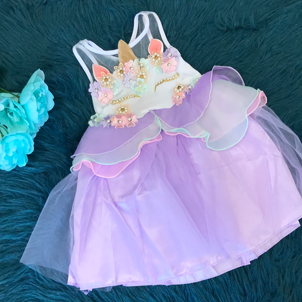 Purple Unicorn Dress w/ Pearls & Flowers
