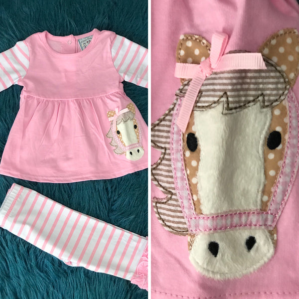 Three Sisters Pink Special Horse Applique Two Piece Set - JEN'S KIDS BOUTIQUE