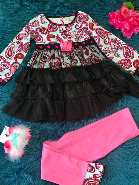 Fall Ann Loren Blue & Pink Paisly TuTu Ruffle Pant Set - JEN'S KIDS BOUTIQUE