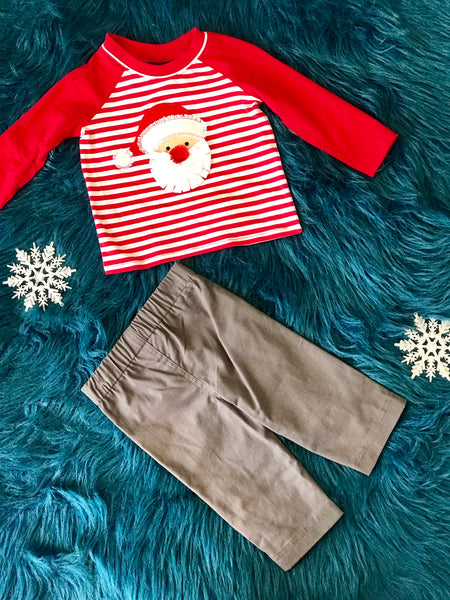 Bonnie Jean Boys Santa Pant Set CH - JEN'S KIDS BOUTIQUE