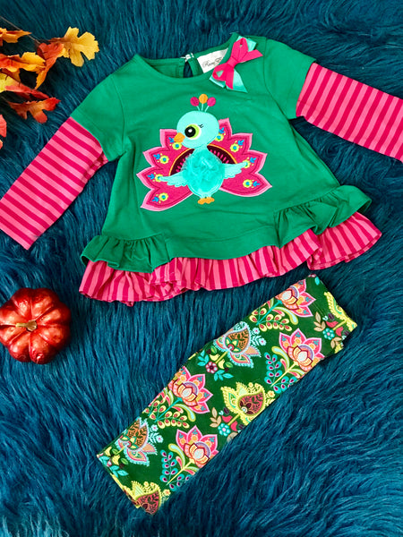 Rare E  Fall Peacock Hunter Green/ Fuchsia Pant Set - JEN'S KIDS BOUTIQUE